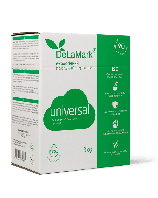 Powder Laundry Detergent  DeLaMark Universal Eco-friendly, 3kg